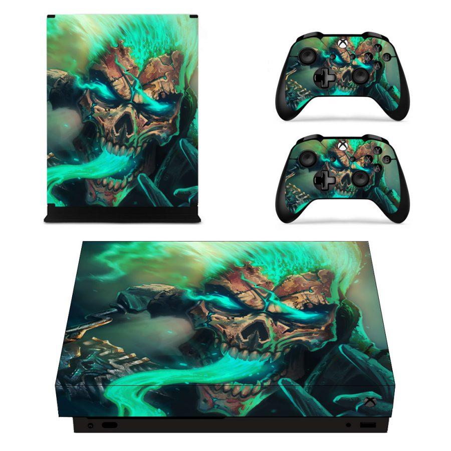 Green Skull Xbox One X skin